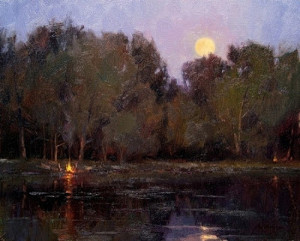 """""""Campfires and Moonlight"""" - 16""""x 20"""" - Oil"""