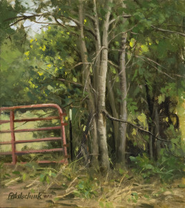 """The Red Gate"" - 11""x 10"" - Oil  (Award of Excellence - Plein Air Southwest Salon 2014)"
