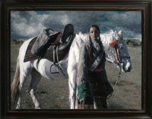 """Cross the Abandoned Town"" by Tong Lou, is a large painting and very strong in presentation. Hill chose a wide reverse scoop moulding, and details found in the patterns of the blanket were carved into the frame. A black, with red rubbed finish, worked best with the painting."