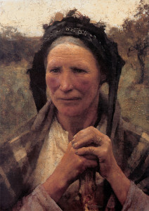 "George Clausen - ""Head of a Peasant Woman"" - 21.37""x 15.75"" - Oil (1882)"