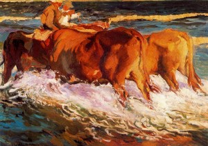 """Oxen Study for 'Afternoon Sun'"" - 38""x 54"" - Oil (1903)"