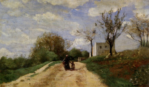 """""""The Path Leading to the House"""" - 9.06""""x 14.76"""" - Oil (1854)"""
