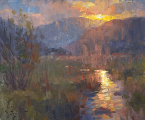 """Moraine Park Sunset"" - 10""x 12"" - Oil (Best of Show and ""Southwest Magazine"" award; Plein Air Southwest Salon 2014)"