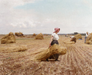 "Victor Gilbert - ""La Moisson"" - 18.11""x 21.85"" - Oil"