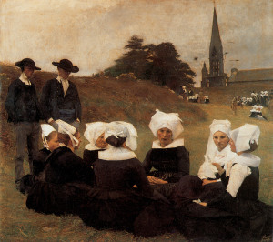"Pascal Adolphe Jean Dagnan Bouveret - ""Breton Women at a Pardon"" - 49""x 55"" - Oil  (1887)"
