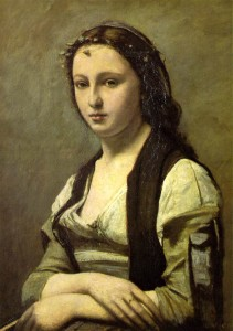 """""""Woman with a Pearl"""" - 27.5""""x 21.68"""" - Oil  (1868-70)"""