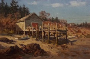 """Wharf at Jonesport"" - 16""x 24"" - Oil"