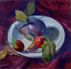 """Plum and Strawberries"" - 9.75""x 10"" - Oil"