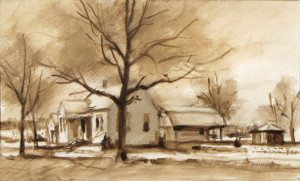 Monochromatic block-in of color study using raw umber..