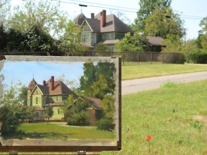 Plein air painting in Clarksville, TX. (The painting has been highlighted in order to show it properly because it was in shadow when the photo was taken)
