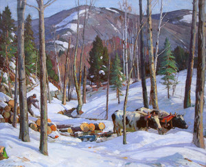 """Log Team, Vermont"" - 40""x 50"" - Oil"