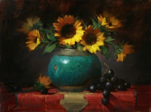 "Elizabeth Robbins - ""Sunflowers and Jade"" - 12""x 16"" - Oil  (Award of Excellence)"