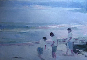 """Susan Patton - """"Daring the Waves"""" - 11""""x 14"""" - Oil  (Extended Analogous: Red Violet, Violet, Blue Violet, Blue, Blue Green)"""