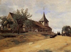 """The Church at Lormes"" - 13.5""x 18.25"" - Oil   (1842)"