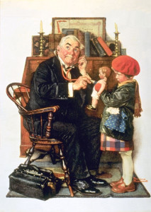 """""""Doctor and Doll"""" is one of Rockwell's best loved Saturday Evening Post covers - 1929"""