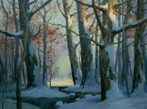 """Snowy Woodland"" - 36"" x 48"" - Oil"