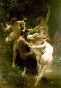 "William Adolphe Bouguereau - ""Nymphes et Satyre"" - 102""x 71"" - Oil -  1873"