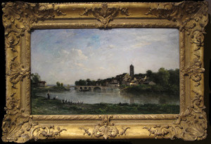 "Charles Francois Daubigny - ""The Bridge Between Persan and Beaumont-sur-Oise"" - 15""x 26"" - Oil - 1867"