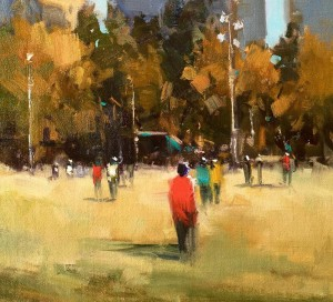 "Beverly Boren - ""Klyde Warren Park"" - 10"" x 12"" - Oil  (Award of Merit)"