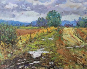 "Bob Beck - ""Rain on the Farmland"" - 16"" x 20"" - Oil  (Award of Merit)"