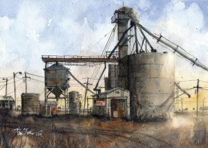 "Tim Oliver - ""Farmers Elevator - Wayside, TX - 10"" x 14"" - Watercolor  (Honorable Mention)"