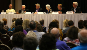 The Collectors Panel. (left to right): John Pototschnik, Jim Bruce, Hank Beckman, Mary Beckman, Tim Newton.