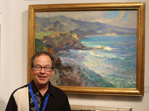 "Kevin Macpherson, Juror of Awards, with his painting ""Laguna Cliffside"" - 30"" x 40"""