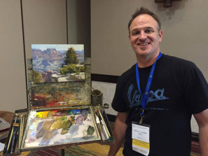 Mitch Baird demonstrates his landscape painting techniques.