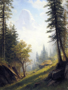 "Albert Bierstadt (1830-1902) - ""Among the Bernese Alps"" - 28.5"" x 21.75"" - Oil"