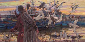 "Daud Akhriev - ""Harbor Conversations"" - 12"" x 23"" - Oil  (Silver Medal, Oil Painters of America 2016 National)"