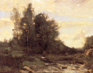 "Jean-Baptiste Camille Corot (1796-1875) - ""Le Torrent Pierreaux"" - 19.76"" x 24.25"" - Oil"