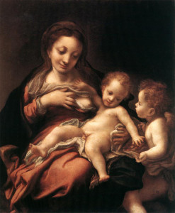 "Correggio (1489-1534) - ""Virgin and Child with an Angel"" - 30"" x 22.36"" - Oil"