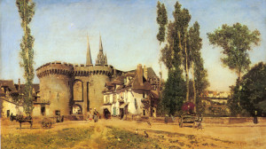 "Martin Rico y Ortega (1833-1908) - The Village of Chartres"" - 16.54"" x 28"" - Oil"