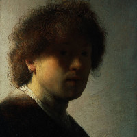 "Rembrandt (1606-1669) - ""Self Portrait at an Early Age"" - 8.9"" x 7.36"" - Oil  (1628)"