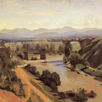 "Jean Baptiste-Camille Corot (1796-1875) - ""The Augustan Bridge at Narni"" - 13.39"" x 18.9"" - Oil   (1826)"