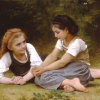 "William Bouguereau (1825-1905) - ""Les Noisettes"" - 34.45"" x 52.76"" - Oil  (1882)"