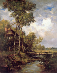 "Narcisse Virgile Diaz de la Pena (1808-1876) - ""The Old Windmill Near Barbizon"" - 39.37"" x 30.91"" - Oil"