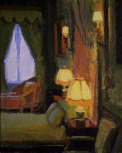 """Lamp Lit Bedroom"" - 8"" x 10"" - Oil"