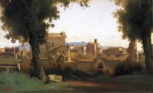 "Camille Corot - ""View of Rome From the Farnese Gardens-Morning"" - 9.65"" x-15.8"" - Oil."