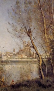 "Camille Corot - ""-Mantes,The Cathredal and the City Seen Through the Trees"" - 19.29"" x 12.6"" - Oil  (1865-69)"