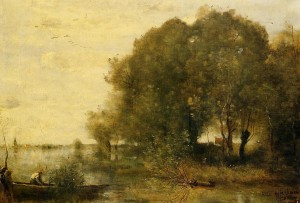 "Camille Corot - ""Wooded Peninsula"" - Oil  (1865-68)"
