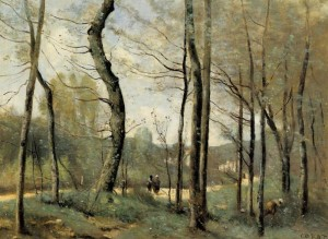 "Camille Corot - ""First Leaves Near Nantes - Oil  (1855)"