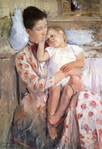 "Mary Cassatt (1844-1926) - ""Mother and Child"" - 35.3"" x 25.3"" - Oil  (1890)"