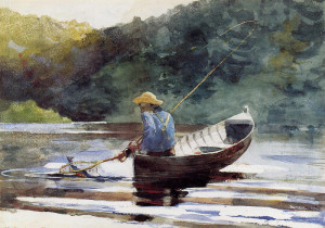 "Winslow Homer (1836-1910) - ""Boy Fishing"" - 14.63"" x 21"" - Watercolor  (1892)"