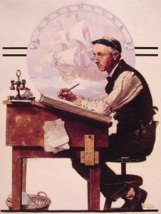 "Norman Rockwell (1894-1978) - ""Daydreaming Bookkeeper"" - 30"" x 23"" - Oil  (1924)"