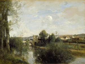 "Camille Corot - ""Seine and Old Bridge at Limay"" - 16"" x 26"" - Oil  (1872)"