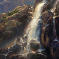 """Bright Morning, Timberline Falls"" - 18"" x 24"" - Oil"