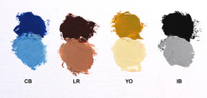 Palette selection: Cobalt Blue, Burnt Siena, Yellow Ochre, Ivory Black, Titanium White.