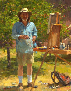 """Plein Air Self Portrait"" - 18"" x 14"" - Oil  (Grand Prize winner, PleinAir Salon 2015)"