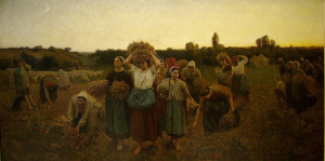 "Jules Breton (1827-1906) - ""Calling in the Gleaners"" - 35"" x 46"" - Oil  (1859)"